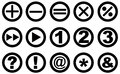 Set of circular icons round with various symbols numbers and arrows Stock Photos