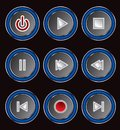 set of circular media player buttons Royalty Free Stock Photo