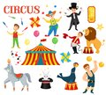 A set of circus artists Royalty Free Stock Photo