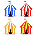 Set of circus tent in different colors isolated over white background Stock Photos