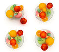 Set of citrus on a glass plate on a white Royalty Free Stock Photo