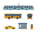 Set of city bus, taxi, tram and bus stop isolated on white background.