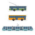 Set of city trolley bus, bus and tram isolated on white background.