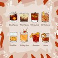 stock image of  Set of classic cocktails on abstract background. Fresh bar alcoholic drinks menu. Vector sketch illustration collection
