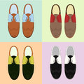 Set of classic mens shoes. Retro style. Various color Royalty Free Stock Photo