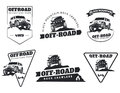 Set of classic off-road suv car emblems, badges and icons. Rock Royalty Free Stock Photo