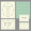 Set of classic wedding invitations and announcements Stock Photos
