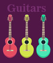 Set of a classical acoustic guitars. silhouette classic guitars. Musical string instruments. Vector illustration in flat