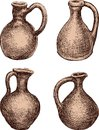 A set of the clay jugs Royalty Free Stock Photo