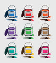 Set of clean paint buckets with various colors.