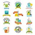 Set of cleaning service emblems labels design home household symbol work brush vector illustration.
