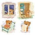 Set clip art illustrations of bored teddy bears.
