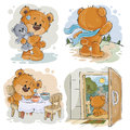 Set clip art illustrations of bored teddy bears.