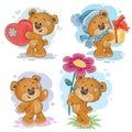 Set clip art illustrations of teddy bears