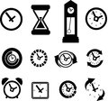 Set of clock icons and time Stock Photo