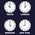 Set of clocks showing the time difference in different time zones. Timezone clock .international time. Vector white icon on dark b Royalty Free Stock Photo