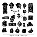Set of clocks and watches, Hand drawn vector illustration Royalty Free Stock Photo