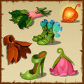 Set of clothes little fairies, six vector items Royalty Free Stock Photo