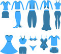 Set of clothes for women and girls. vector illustration