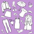 A set of clothing, shoes, accessories. Isolated vector illustration for design and coloring.
