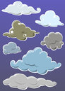 Set of cloud hand draw isolated clouds on blue background Stock Image