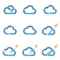 Set of cloud icons related with business concepts and computing Stock Photo
