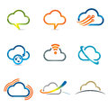 Set of cloud icons related with computing and networking Royalty Free Stock Images
