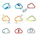 Set of cloud icons shiny related with computing and networking Stock Photo