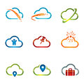 Set of cloud icons shiny related with computing and networking Stock Photos