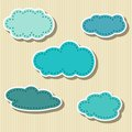 Set of cloud shaped paper tags vector illustration Stock Photo