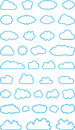 Set of cloud shapes illustrated different blue shape outline isolated on white background Royalty Free Stock Image