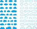 Set of cloud signs illustration blue in different shapes white background Stock Photography