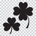 Set of clover icon, three and four leaves. Black silhouette. Vector illustration