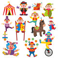 Set of clowns in circus on white background Stock Photography