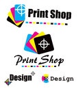 Set of cmyk designs symbol print shop created in colors Royalty Free Stock Photo