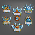 Set of coats of arms icon for game interface.