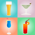 Set of cocktails and beer on colored backgrounds Royalty Free Stock Photo