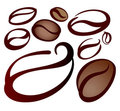 Set of coffee beans Royalty Free Stock Photos