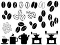 Set coffee beans coffee objects illustrated white background Royalty Free Stock Photography