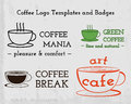 Set of coffee cafe icons logo and business cards design for restaurant shop branding vector illustration eps Royalty Free Stock Images