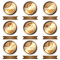 Set of coffee cup icon designs isolated eps Royalty Free Stock Photos