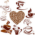 Set of coffee cups icons heart shape is made of c beans stylized sketch symbols for restaurant or cafe menu Stock Photo