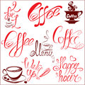 Set of coffee cups icons stylized sketch symbols and hand drawn calligraphic text menu wake up happy hour elements for cafe Royalty Free Stock Photography