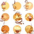 Set of coffee cups icons stylized sketch symbols for restaurant or cafe menu Royalty Free Stock Photo