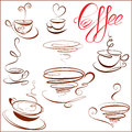 Set of coffee cups icons stylized sketch symbols for restaurant or cafe menu Royalty Free Stock Image
