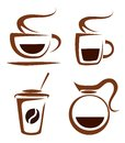 set of coffee cups vector icons Royalty Free Stock Photo