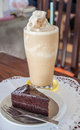 A set of coffee frappe and chocolate cake Stock Photos