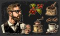 Set coffee. Hipster barista holding a cup, sack with wooden scoop and beans, cup, branch with leaf and berry.