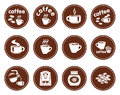 Set coffee icons white background Stock Photo