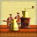 Set of coffee mill turkish cezve and textile bag standing on the wooden table over grunge retro frame background eps Royalty Free Stock Photography